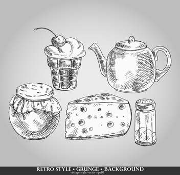 set of tea time retro elements - vector #135183 gratis
