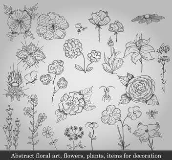 abstract flowers, plants and items for decoration - vector #135233 gratis