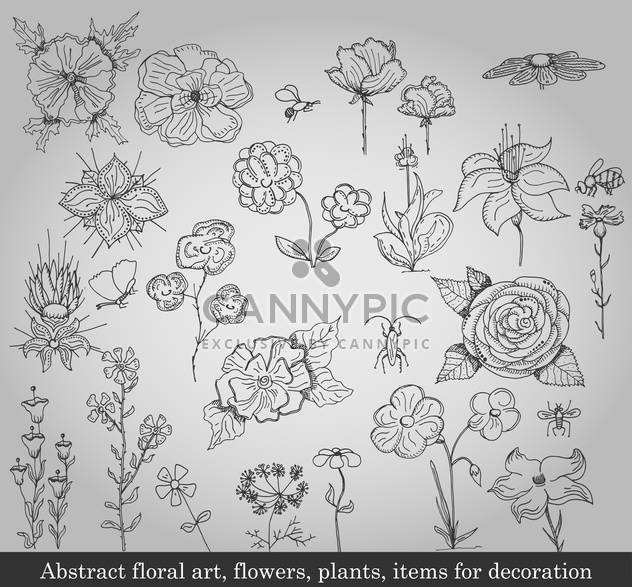 abstract flowers, plants and items for decoration - Free vector #135233