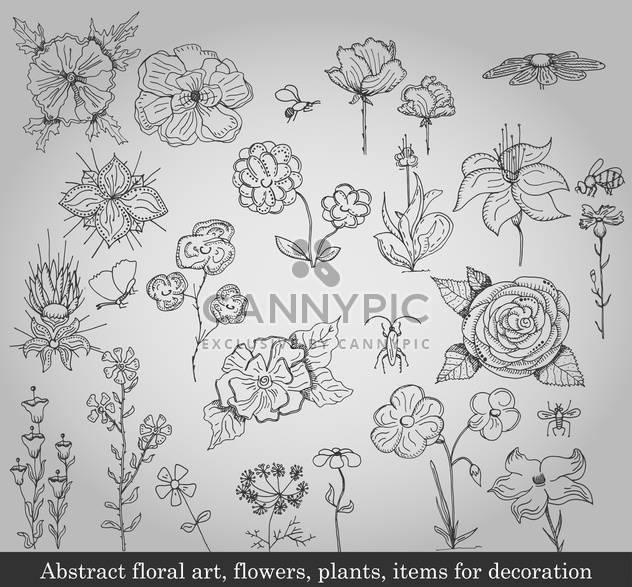 abstrakt blumen, Pflanzen und Gegenstände für die Dekoration - Free vector #135233