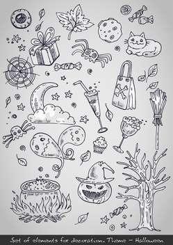 various decorative elements for halloween holiday - Free vector #135263