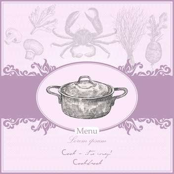 Vintage menu cover with cooking pot - vector #135273 gratis