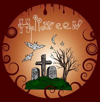 Halloween holiday banner with cemetery - vector gratuit #135283