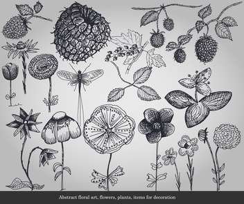 Abstract flowers, plants, items for decoration - Kostenloses vector #135293
