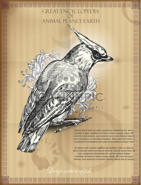 Bohemian Waxwing from Great Encyclopedia of Animal - Free vector #135313