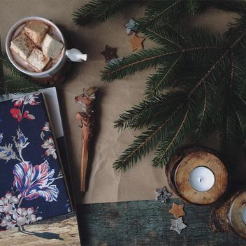 Candles, fir branches and mug of cocoa - Free image #136383