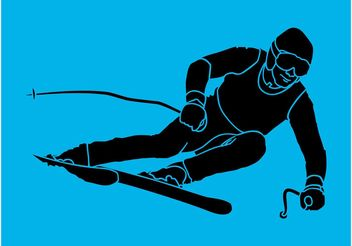 Skiing Silhouette - vector gratuit #138953