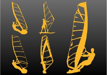 Windsurfers Silhouettes - Kostenloses vector #139013