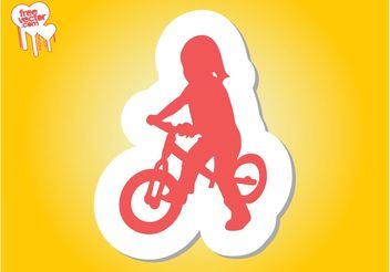 Girl On Bike Silhouette - vector gratuit #139053