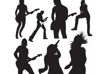 Live Music Vector Silhouettes - Free vector #139163