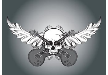 Vector skull, foliage and guitars - vector gratuit #139463