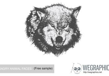 Angry Animal Face Vector - Free vector #139553
