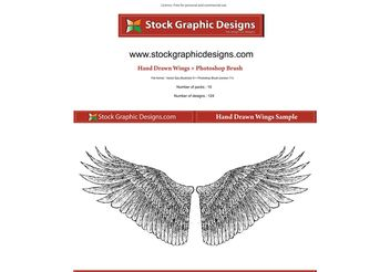 Hand Drawn Wings - vector gratuit #139583
