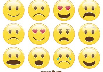 Cute Smiley / Emoticon Set - Free vector #140823