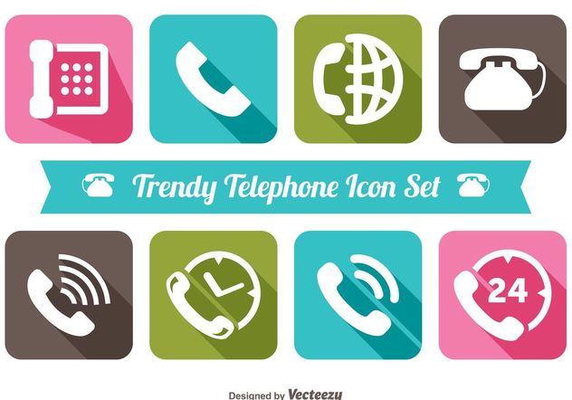 Trendy Telephone Icon Set - Free vector #141053