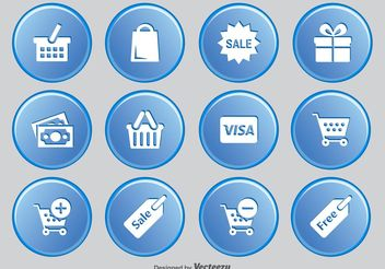 Shopping Button Icon Set - Free vector #141083