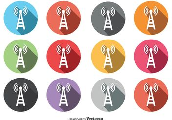 Round Phone Tower Icon Set - vector gratuit #141193