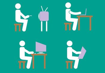 Stick Figure Icon Vector Set - Free vector #141283