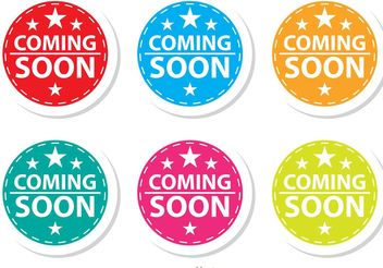 Starred Coming Soon Colorful Icons Set - vector gratuit #142193