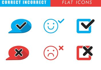 Correct Incorrect Flat Icons - Free vector #142233