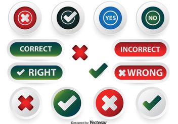 Correct Incorrect Button Set - Free vector #142343