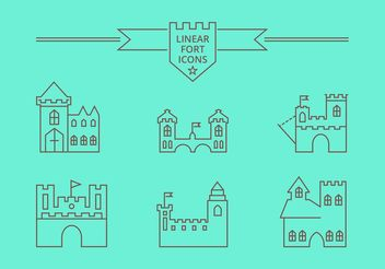 Free Vector Linear Fort Icons - vector gratuit #142373