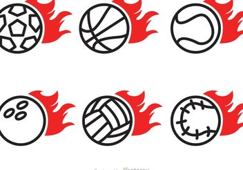 Flaming Sport Ball Vector Icons - Free vector #142403