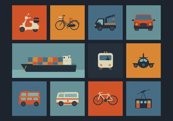Free Vector Retro Transportation Icons - Kostenloses vector #142713