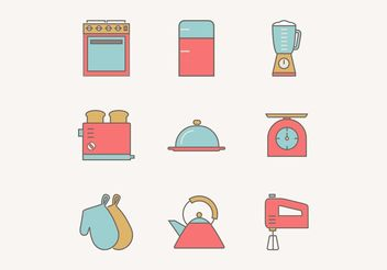 Free Flat Outline Vintage Kitchen Utensils Vector Icons - Free vector #142723