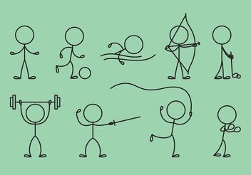Stick Figure Icons Sports - Free vector #142743