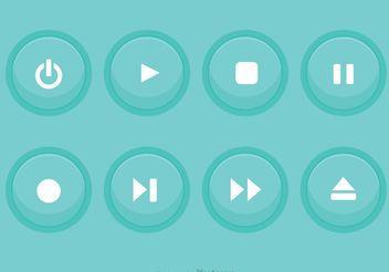 Media Player Blue Button Vectors - Kostenloses vector #142833