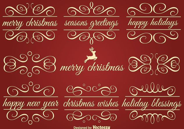 Vector Holiday Ornament Text Frames - Free vector #142913