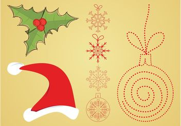 Vector Christmas Decorations - vector gratuit #142953