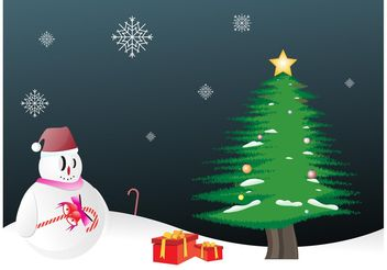 Snowman Christmas - Free vector #143163