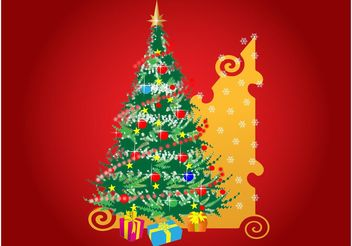 Christmas Tree And Presents - vector gratuit #143183