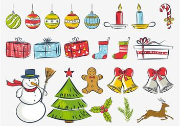 Christmas Drawings Vector - Free vector #143323