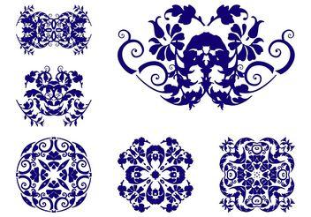 Vintage Flower Scrolls - Free vector #143353