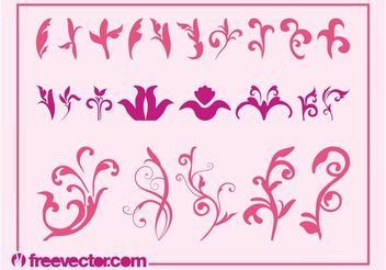 Pink Flowers Graphics Set - vector gratuit #143413