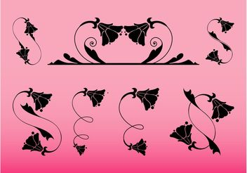 Swirling Flower Decorations Set - vector gratuit #143433