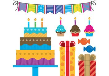 Colorful Birthday Vectors - Free vector #145023