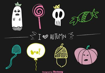 Autumn Halloween Vector Doodles - Free vector #145063