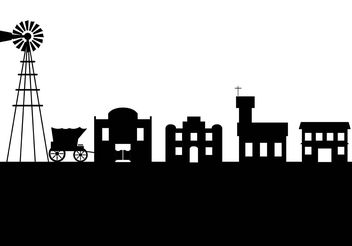 Old west town silhouette - Free vector #145453
