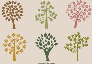 Organic Trees Vector Silhouettes - vector gratuit #145493