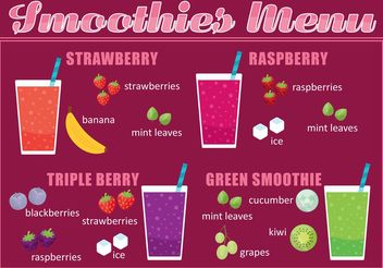 Smoothie Menu Vector - бесплатный vector #145563