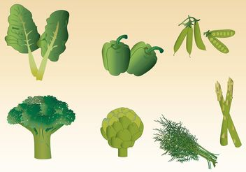 Green Vegetable Vectors - vector gratuit #145573