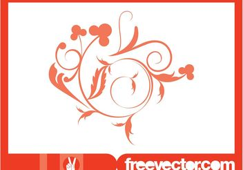 Swirling Floral Design - Free vector #145823