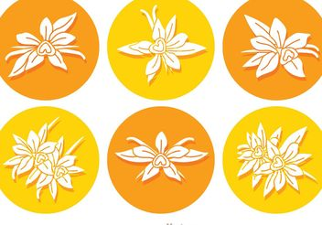 Vanilla Flower Round Icon Vectors - бесплатный vector #146163