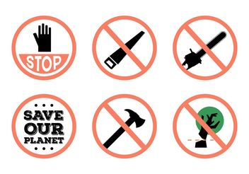 Stop Deforestation Vector Signs - vector gratuit #146223