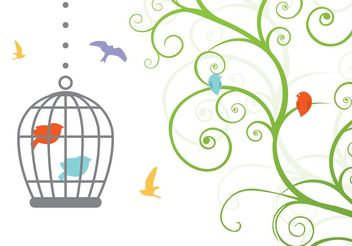Swirly Vintage Bird Cage Vector - бесплатный vector #146543
