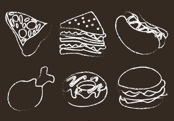 Chalk Drawn Food Vectors - Free vector #146863